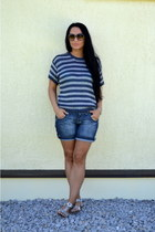 silver DIY bracelet - navy marks & spenser sweater - Zara shorts