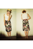 floral valerie vintage skirt - light yellow straw Primark hat
