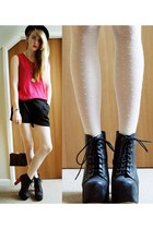 cream polka dots H&M Trend tights - black floral cutout Vero Moda shorts