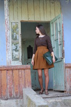 Green bag - vintage blouse - Old shoes