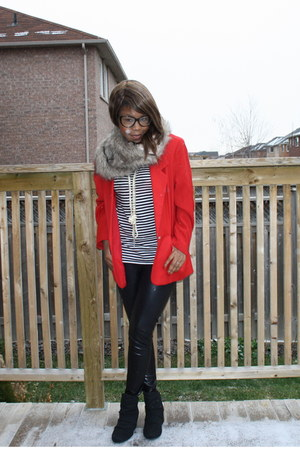 striped H&M shirt - black faux leather Forever 21 leggings - red thrifted blazer
