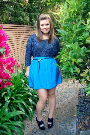 blue Kimchi Blue skirt - blue H&M blouse - black Aldo shoes - blue unknown belt