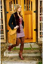 free people dress - Anthropologie sweater - HUE tights - Cut N Paste bag - Chie