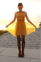 gold Rodarte forTarget dress - black Urban Outfitters stockings - brown Jeffery