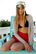 Hermes scarf - J Crew cardigan - vintage shorts - vix swimwear