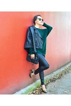 dark green Ralph Lauren sweater - black leggings - mustard Guess heels
