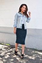 blue American Eagle jacket - dark green H&M skirt