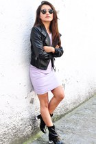 purple Zara dress - black jacket