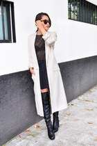 black Steve Madden boots - beige H&M coat - black Zara top
