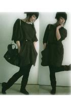 BJ dress - Bozzolo leggings - Forever 21 boots - Forever 21 belt - H & M purse -