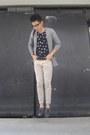 Polka-dots-oxygen-shirt-bench-cardigan-beige-chinos-sm-pants