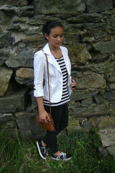 white XOXO blazer - black H&M shirt - brown Tignanello purse - pacific