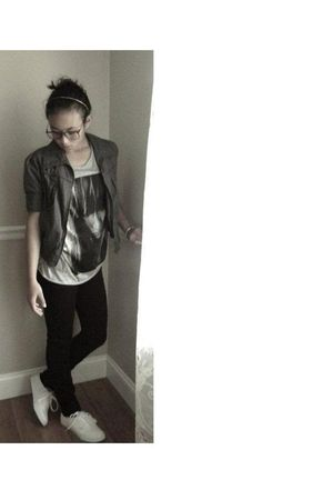 gray grey Forever 21 jacket - white Vans shoes - silver H&M shirt