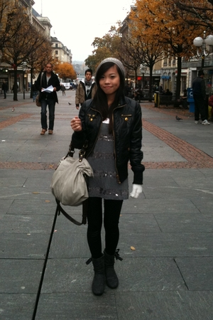 Beshka jacket - H&M dress - Claire leggings - Zara purse - Bata boots - H&M hat