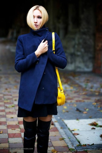 navy dark blue coat Mango jacket - Even&Odd boots - navy sessun dress