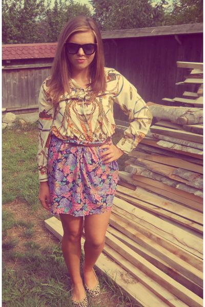 camel Mango shoes - camel vintage shirt - amethyst vintage skirt