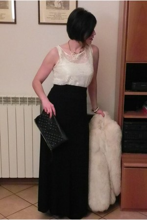 white vintage fur coat - black topshop clutch bag - black hm maxi skirt - cream