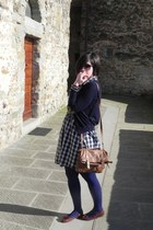 navy checked Zara dress - navy Topshop tights - camel satchel Primark bag - dark