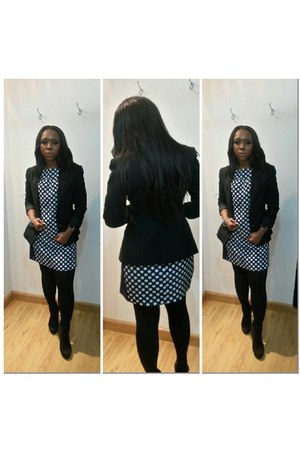 black next boots - navy zara dress - black la sposa blazer