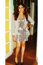 gray Zara blazer - silver Mango dress - silver Mango shoes