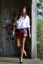silk theodora tzelepi skirt - mens bertoluci shirt - Zara heels