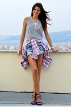 tartan talco shirt - jean Bershka shorts - v neck asos vest - blue Zara heels