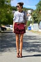 brick red ruffles asos skirt - heather gray oversized asos sweatshirt