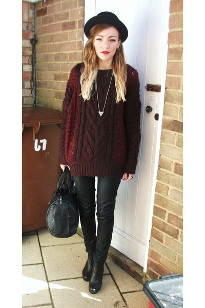 crimson cable knit Primark jumper - black Office boots - black Topshop jeans