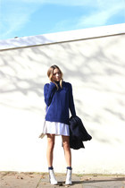 blue Forever 21 sweater - off white pointed asos boots
