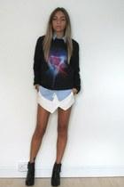 white skort Zara shorts - black Kurt Geiger boots