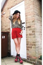red suede Topshop shorts - black bowler hat H&M hat