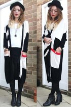 red maxi cardi H&M cardigan - black studded ankle Office boots