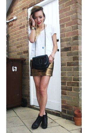 bronze metallic Zara skirt - black Office boots