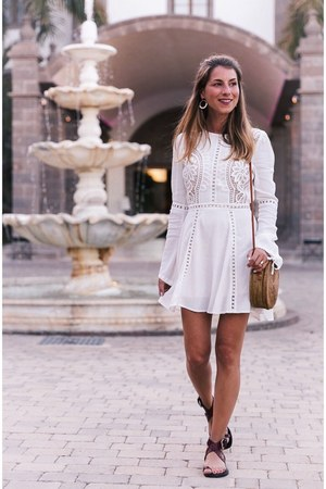 bronze ata bag bag - white lace dress Chicwish dress