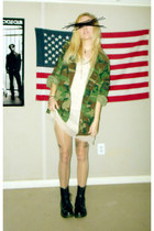 army green jacket - black Dr Martens boots - cream dress - nude tights