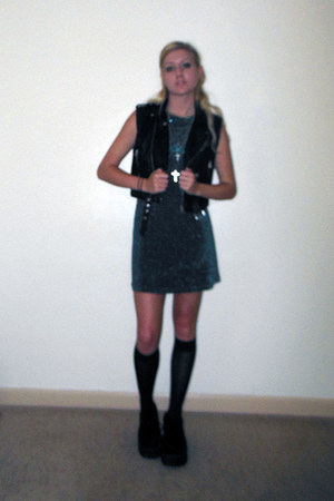 forest green dress - black Nasty Gal vest - silver Nasty Gal necklace