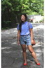 Brown-purse-light-blue-shorts-red-flats-violet-blouse