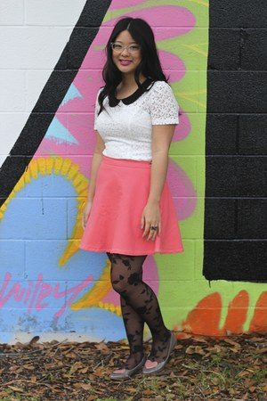 bubble gum skirt - white dress - black tights - puce flats