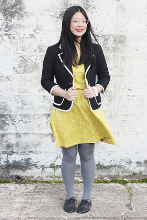 black jacket - gold dress - heather gray tights - black flats