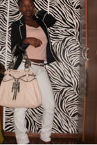 pink shirt - Zara blazer - white pants - pink bag