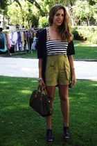 vintage shorts - vintage top - Louis Vuitton wallet - Zara shoes