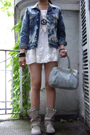 energie jacket - DIY boots - Fendi purse - H&M dress - necklace