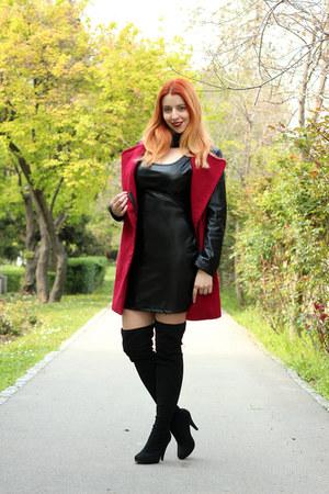 black sammydress dress - NewYorker boots - romwe coat - black Newchic scarf