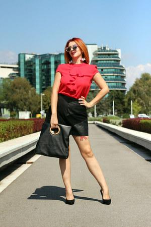 Zara bag - Newchic earrings - shein blouse - Bata heels