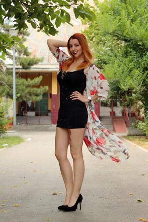 black sammydress dress - sammydress cardigan - black Bata heels