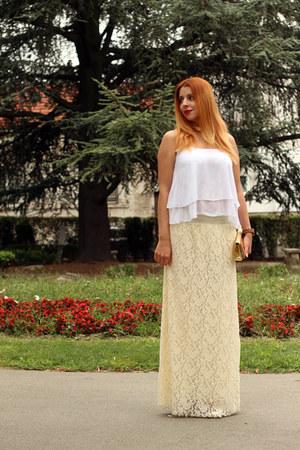beige BangGood skirt - white BangGood top - wood JORD watch