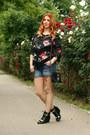 Black-amiclubwear-bag-oasap-shorts-floral-sammydress-top