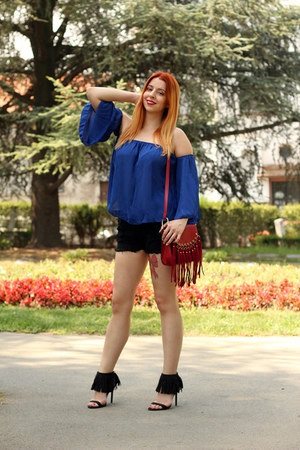 blue GAMISS top - black zaful shorts - black AmiClubWear heels