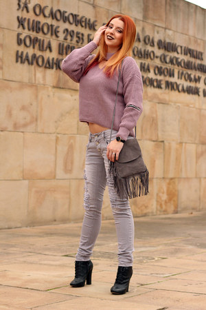 zaful sweater - Kitten boots - NewYorker jeans - AmiClubWear bag