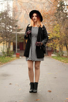 black Kitten boots - black and white Jexshop dress - black Newdress hat
